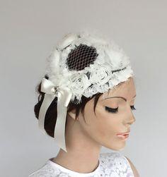 Floral Bridal Head Piece Unusual Cap Veil White by MammaMiaBridal