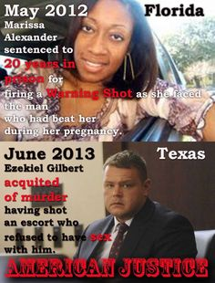 Good Ol' Justice in da South! It's better to murder someone and get off, like Ezekiel and George Zimmerman. A warning shot gets you in prison. Does anyone know which prison she is in, I'd like to write to her. My heart goes out to you my dear. I wish I would have had my gun that night. Silly me, how dare I not carry to just walk the dog.