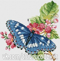 Cross stitch butterflies and chart. Cross Stitch Cards, Cross Stitch Baby, Modern Cross Stitch, Cross Stitching, Cross Stitch Embroidery, Christmas Embroidery Patterns, Embroidery Patterns Free, Cross Stitch Patterns, Butterfly Cross Stitch