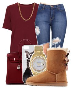 """Untitled #414"" by kenziesg ❤ liked on Polyvore featuring Topshop, Hermès, Rolex, UGG Australia and Fremada"