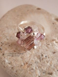 Wire Wrapped Ring, Size 6, Swarovski Crystal and Silver Beaded Handmade Ring by PerfectlyTwisted on Etsy https://www.etsy.com/listing/212294162/wire-wrapped-ring-size-6-swarovski
