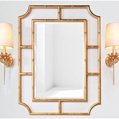 Worlds Away Miroir Accent Finition: feuille Dining Room Console, Hall Mirrors, Bathroom Mirrors, Bathrooms, Bamboo Mirror, Feuille D'or, Gold Wallpaper, Wallpaper Roll, Bathroom Pictures
