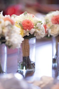 Coral and White Bridesmaids' Bouquet