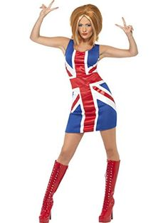 Buy Ginger Spice Womens Costume Spice Girls Union Jack Dress Geri Halliwell at online store Costumes Sexy Halloween, Pop Star Costumes, Wholesale Halloween Costumes, Halloween Fancy Dress, Halloween Kostüm, Girl Costumes, Costumes For Women, Oktoberfest Halloween, Women Halloween