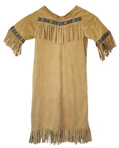 Halloween Costumes - This fun American Indian girl costume is a great choice for Halloween. The Native American Princess Indian Costume includes the tan colored faux suede dress with fringed bottom and neck.