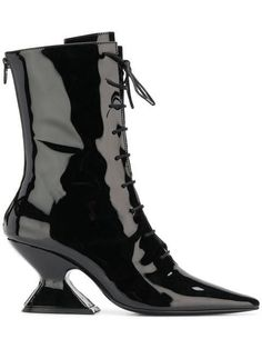 Black patent leather Radio lace up boots from Dorateymur featuring a pointed toe, a rear zip fastening, a sculpted high heel and a chunky mid-heel. Burgundy Knee High Boots, Patent Leather Boots, Black Leather Boots, Thigh High Boots, Sock Ankle Boots, Open Toe Boots, Lace Up Boots, Designer Boots