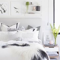 Dear Monday is it bed time yet? #neueblvd #interiordesign #bedding #bedroom #inspo #style #blackandwhite #style #love