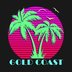 Check out this awesome 'Gold+Coast' design on Sea Logo, Arte Dope, Skull Girl Tattoo, Neon Design, Retro Arcade, Neon Rainbow, Neon Aesthetic, Pink Sunset, Outdoor Signs