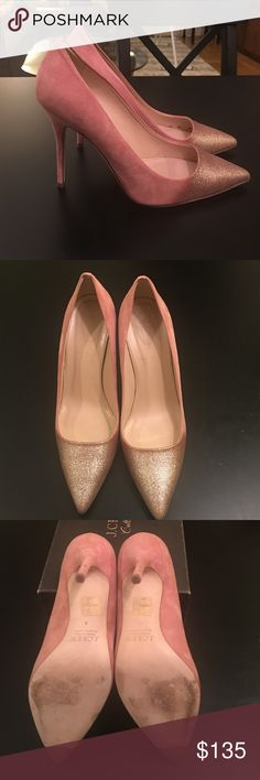 J. Crew Collection Roxie Glitter Suede Pumps Gorgeous J. Crew Collection Roxie Glitter Suede pumps in dusty rose suede with platinum glitter detail on toe. Worn only once these pumps are the perfect shoe for any special occasion. Heel measures 4 inches. J. Crew Shoes Heels