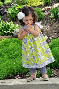 Girls Chartreuse and Grey A-line Dress with Round Neckline and Bow