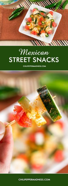 Mexican Street Snacks: watermelon, jicama, cucumber, serrano peppers dusted with chili powder Mexican Snacks, Mexican Breakfast Recipes, Mexican Food Recipes, Spanish Recipes, Mexican Appetizers, Potluck Recipes, Sweets Recipes, Appetizer Recipes, Spicy Chicken Recipes