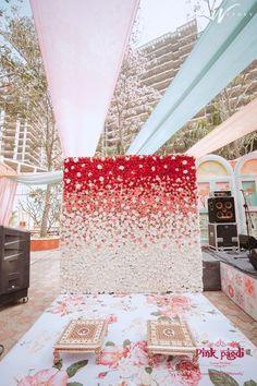 Desi Wedding Decor, Wedding Stage Decorations, Backdrop Decorations, Birthday Decorations, Flower Decorations, Ganpati Decoration Design, Wedding Walkway, Background Decoration, Backdrop Design