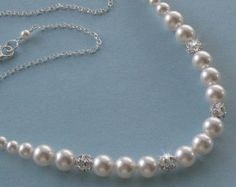 Pearl Bridal Necklace Pearl and Rhinestone by NaturesWildJewels