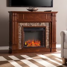 """45.5"""" Belleview Simulated Stone Media Center Electric Fireplace - FE9333"""