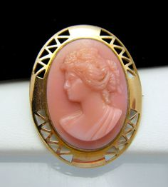 Victorian Cameo Pink Glass Gold