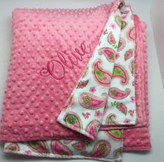 Monogrammed baby girl blanket personalized gift for girls monogrammed baby girl blanket personalized gift for girls monogram toddler or baby blanket personalized baby gift pink paisley blanket negle Image collections