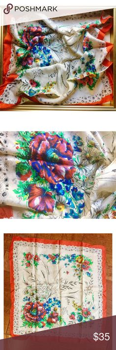 """Stunning 50s VTG Floral Scarf This amazing floral scarf measures 30x31"""". Amazing colorful print and textured. Has a few stains but not noticeable with this rain or garden. No tag so I do not know the material nor brand. Vintage Accessories Scarves & Wraps"""