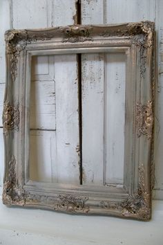 Large frame French farmhouse ornate hand painted a barn gray antique gold accents very well made heavy farmhouse home decor Anita Spero. $270,00, via Etsy.