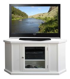 Leick+Furniture+-+Corner+TV+Stand+In+White