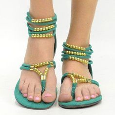 Sea Green Gold Beaded Strappy Flat Sandal Ankle Strap Jade Summer Hippie Fashion from ebay