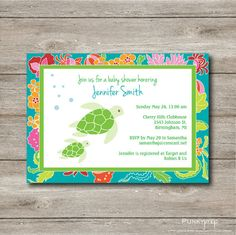 Personalized Sea Turtles Baby Shower Party Invitation