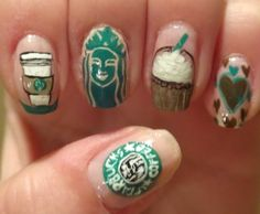 Check out this awesome Starbucks inspired nail art by Helen S. on Preen.me