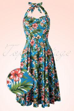 Floral Blue Swing Dress