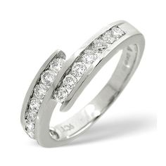 Diamond Essentials 0.50 Ct Crossover Diamond Ring In 9 Carat White Gold From the Diamond Essentials collection in 9 Carat White Gold. Ladies. Presented in a Contemporary hardwood gift box. Our price: pound