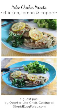 Ingredients for Paleo Chicken Piccata  4 chicken cutlets or two breasts butterflied and pounded thin 1 cup (100 grams) almond flour ~5 Table...