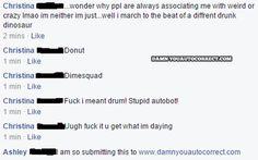 funny auto-correct texts - Drunk Dinosaur