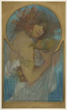 study for the poster Fruit, 1897, Alphonse Mucha - okay technically this is a drawing but w/e i want this style all up in my paintings, so