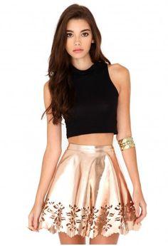 Missguided - Jandy Laser Cut Skater Skirt In Rose Gold