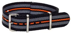 20mm Classic SS Striped Black / Grey / Orange Easily Interchangeable Nylon Military Replacement Watch Band Strap - Fits All Watches!!! - http://www.specialdaysgift.com/20mm-classic-ss-striped-black-grey-orange-easily-interchangeable-nylon-military-replacement-watch-band-strap-fits-all-watches/