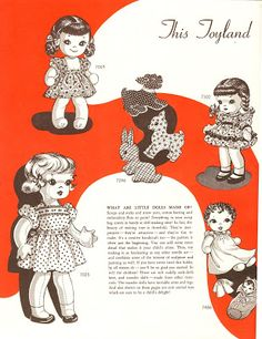 Vintage Cloth Doll Patterns: Cloth Doll Patterns in Alice Brooks Designs Catalog Doll Patterns Free, Doll Sewing Patterns, Sewing Dolls, Doll Clothes Patterns, Vintage Sewing Patterns, Fabric Doll Pattern, Fabric Dolls, Doilies Crafts, Homemade Dolls