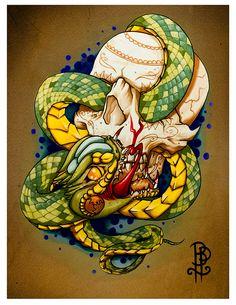 Taste of Mortality Skull and Snake Flash by BROKENPUPPETTATTOO