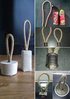 Sew the door stopper and make it yourself : Do creative doorstops yourself. DIY ideas with concrete Cement Art, Concrete Art, Concrete Design, Diy Home Gym, Diy Home Crafts, Diy Home Decor, Concrete Crafts, Concrete Projects, Diy Doorstop