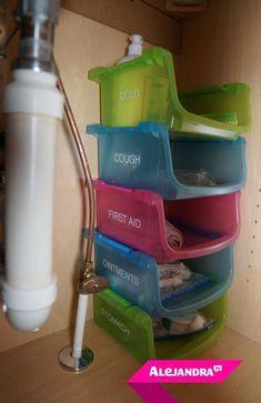 Budget Freundliche Badezimmer Organisation: Verwenden Sie Stapelbare  Behälter Des Dollar Speichers .