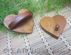 Small Wooden Vintage Heart Wall Shelf & Key Hanger Set / Dish Towel Hanger Rack / Wood Hearts Brown Light Weight / FREE SHIPPING  / by CREATIONSbySabine, $15.00