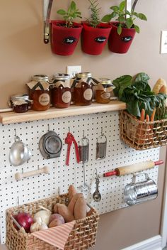 Store baskets of food right next to the tools you use to prepare it, thanks to a pegboard's versatility.