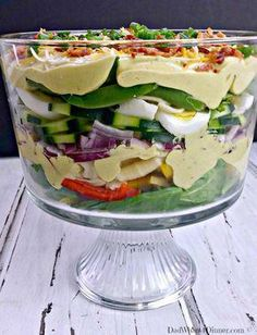 The dressing in my Creamy Deviled Egg Layered Pasta Salad has to be the best dressing I think I have ever made. Creamy, eggy, tangy and bold! Bacon Cornbread, Cornbread Salad, Best Pasta Salad, Pasta Salad Recipes, Easter Dinner Recipes, Stuffed Sweet Peppers, Deviled Eggs, Dinner Menu, Dinner Ideas