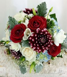 BB1151-Apple Red and Ice Blue Vintage Garden Bouquet