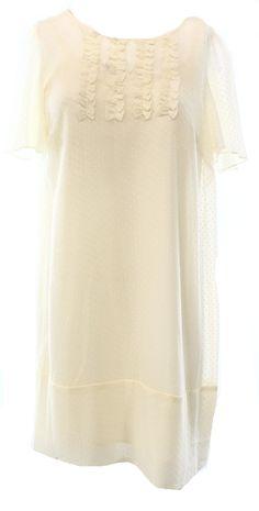 BCBGeneration NEW White Ivory Women's Small S Ruffle Shift Tunic Dress $178