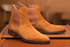 The Best Men's Shoes And Footwear : Carmina Chelsea Boot in .- The Best Men's Shoes And Footwear : Carmina Chelsea Boot in Suede -Read More – - Best Shoes For Men, Men S Shoes, Dress With Boots, Dress Shoes, Dress Clothes, Tan Suede Chelsea Boots, Chelsea Boots For Men, Gentleman Shoes, Mens Boots Fashion