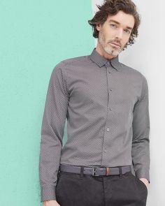 Geo print cotton poplin shirt - Black   Shirts   Ted Baker ROW Around $110.