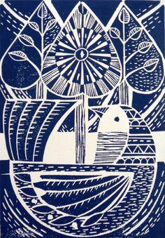 Blue Folk Bird and Trees Original Lino Cut Print by Amanda Colville