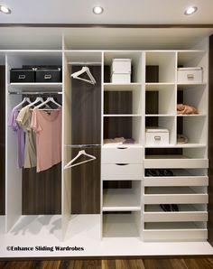 Walk-in Wardrobe / Closet #wardrobe #storage // Designed by Enhance Sliding Wardrobes www.enhanceslidingwardrobes.com