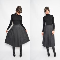 Vintage 80's Grey Pleated Midi Skirt / High Waisted Accordion Pleated Skirt / Wrap Up Wool Skirt /Pleated Wool Skirt - Size Extra Small