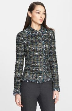 St. John Collection Fringe Ribbon Tweed Knit Jacket available at #Nordstrom
