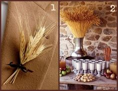wheat boutonnieres and cider bar