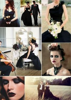 daring black wedding dresses (not for the ceremony but for a Day of the Dead themed engagement photo)